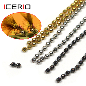 ICERIO 45cm/pcs Fly Tying Bead Chain Tying Bead Eyes Metal 2.4mm 3.2mm Fly Fishing Materials high quality fly tying vise with c clamp black handle steel stainless hard jaws rotary accessories fly fishing tying vice tool