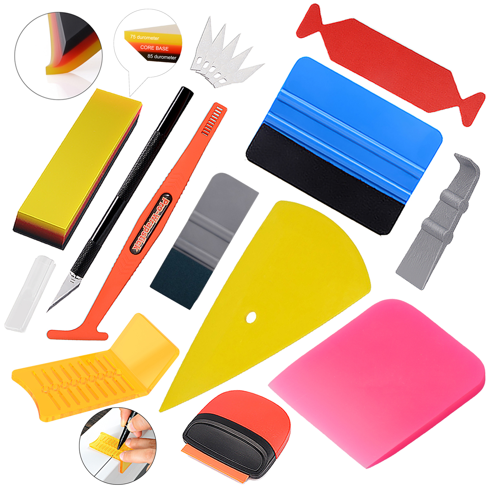 EHDIS Vinyl Wrap Film Tools Kit Window Tint Carbon Fiber Decal Knife Cutter Car Wrapping Sticker Rubber Scraper Magnet Squeegee