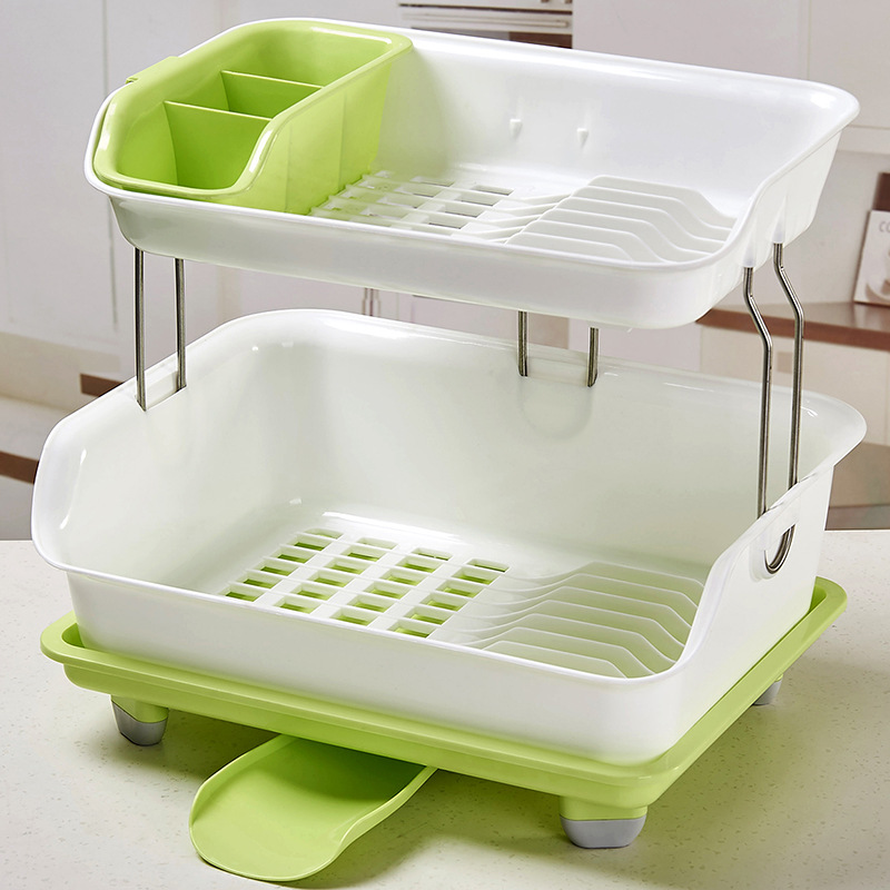 Double Layer Kitchen Shelf Thick Plastic Drain Rack Dish Rack Tableware Put Bowls And Chopsticks Enclosure New Style Storage Rac