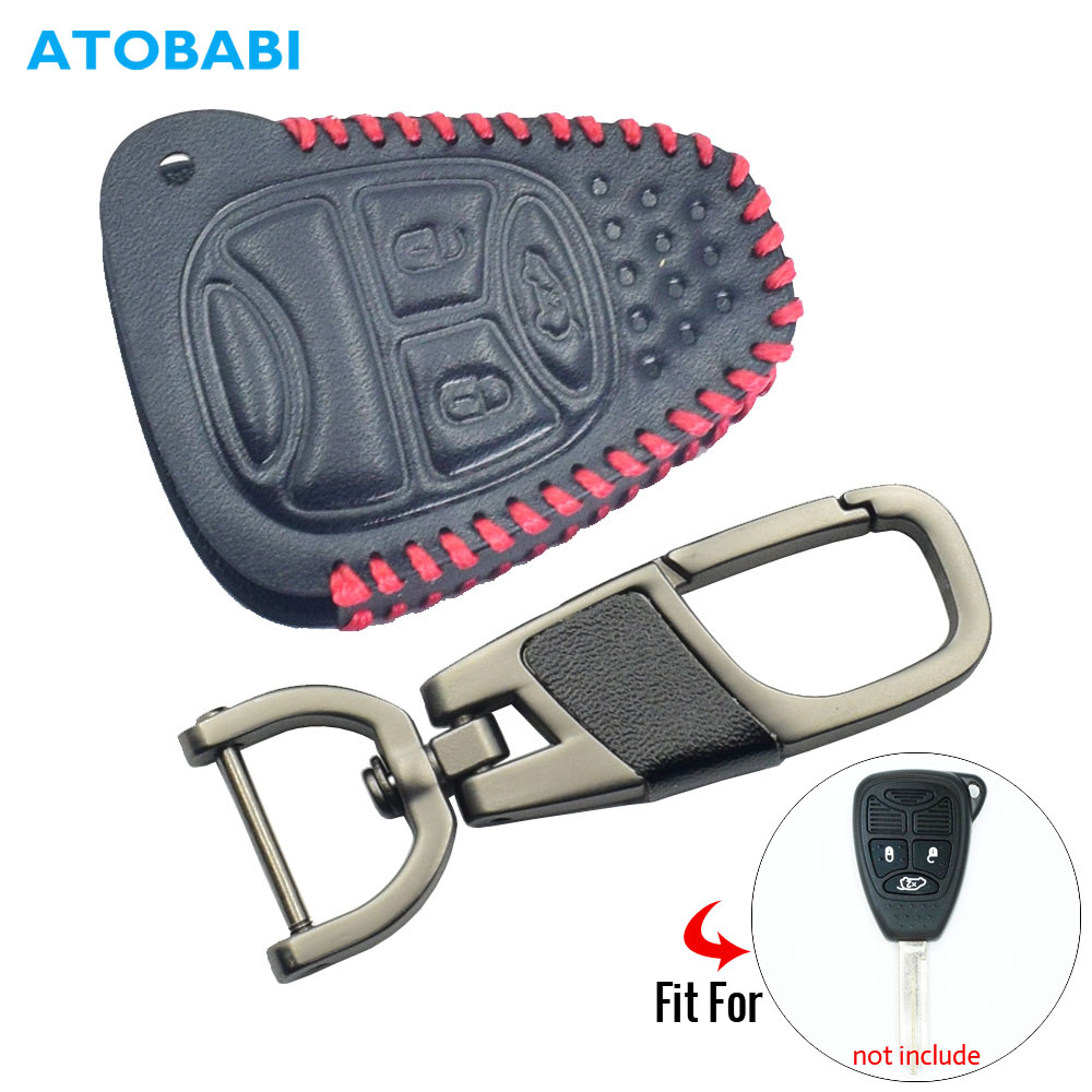 Leather Car Key Case For Jeep Wrangler Compass Liberty Patriot Commander Grand Cherokee Remote Fob Cover Skin Keychain Holder
