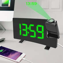 FM Radio Projection LED Digital Clock Smart Alarm Clock Watch Table Electronic Desktop Clocks Wake Up Clock Time Snooze 2 Alarm