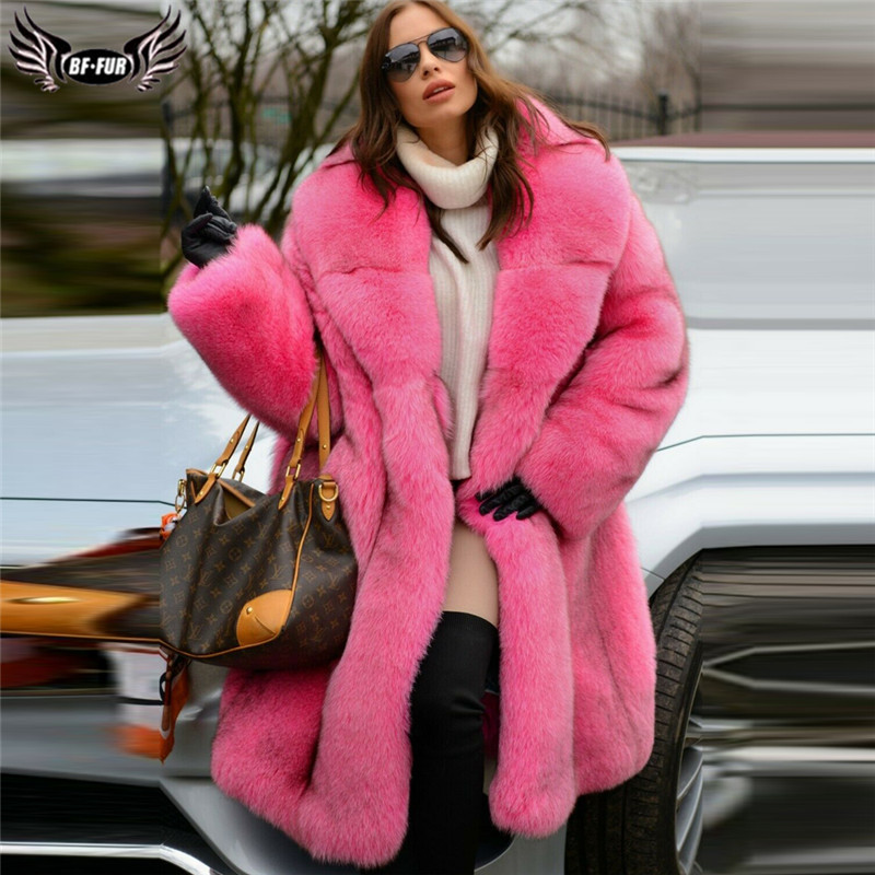 Luxury Natural Fox Fur Coat Women With Big Lapel Collar Winter Fashion Whole Skin Real Blue Fox Fur Jacket Long Woman Overcoat