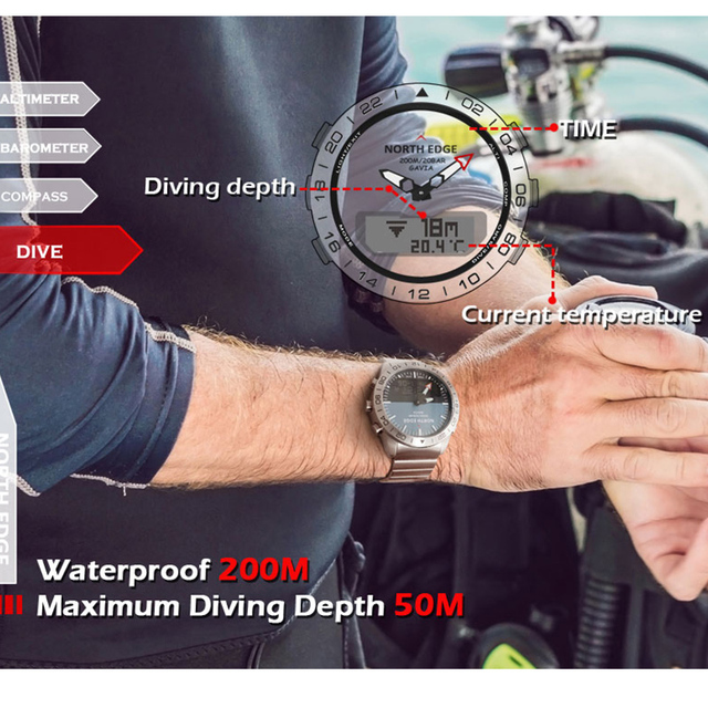 NORTH EDGE Wristwatches Sports 10Bars Waterproof Stainless Steel Men Watches Diving  5