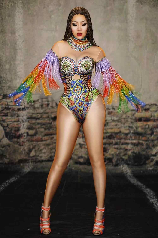 Wielobarwne cyrkonie Fringe body Sexy DJ kobiety piosenkarka kryształy trykot etap nosić Bar Pole pokaz tańca frędzle kostium