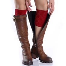 1pair Sexy Women Ladies Leg Warmers Autumn Winter Warm Foot Boots Socks Hemp Flowers Knit Toppers Boot Short Sock Cuffs JS26(China)