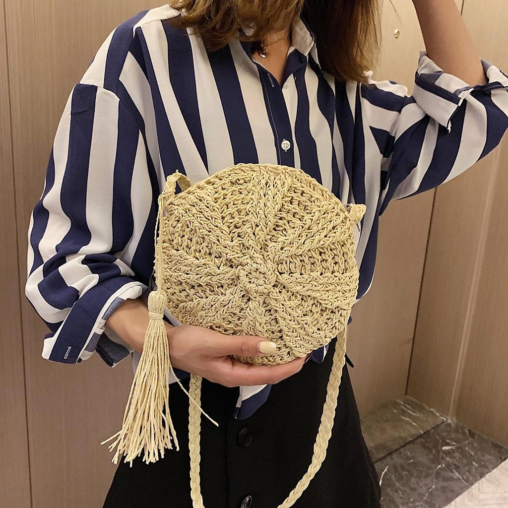 Rattan Bag Straw-Bags Cross-Body-Bag Circle Handbag Handmade Women Maison Fabre -72 Woven-Shell Сумка