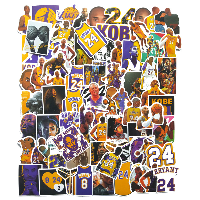 75pcs/Pack 2020 Basketball Stickers Kobe Bryant Sticker Waterproof Kids Toy Stickers For Luggage Laptop Phone Skateboard Decal