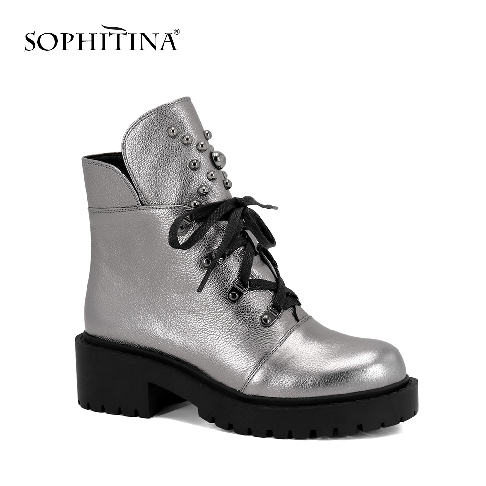 SOPHITINA New Ankle Boots High Quality Cow Leather Lace- up Women's Shoes Fashion Square Heel Warm Short Plush Winter Boots M42