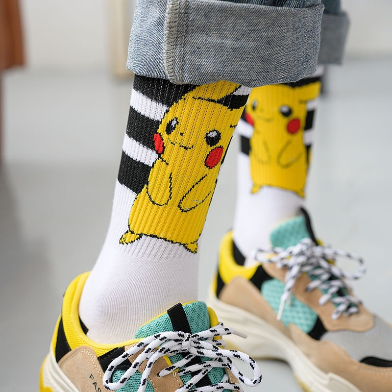 Pikachu Pokemon Female Socks Japanese-Korean Version Of Ins Trend Cute Cartoon Long Sleeve Socks Unisex Couple Men