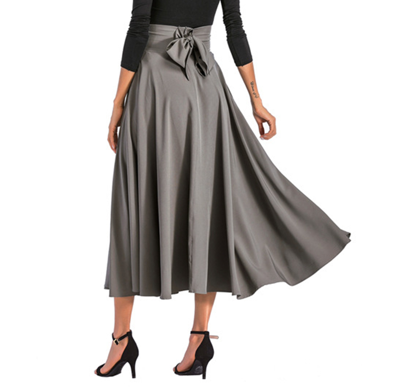 2020 New Fashion  Women Long Skirt Casual Spring  Summer Skirt womens Elegant Solid Bow-knot A-line Maxi Skirt Women Cothes (11)