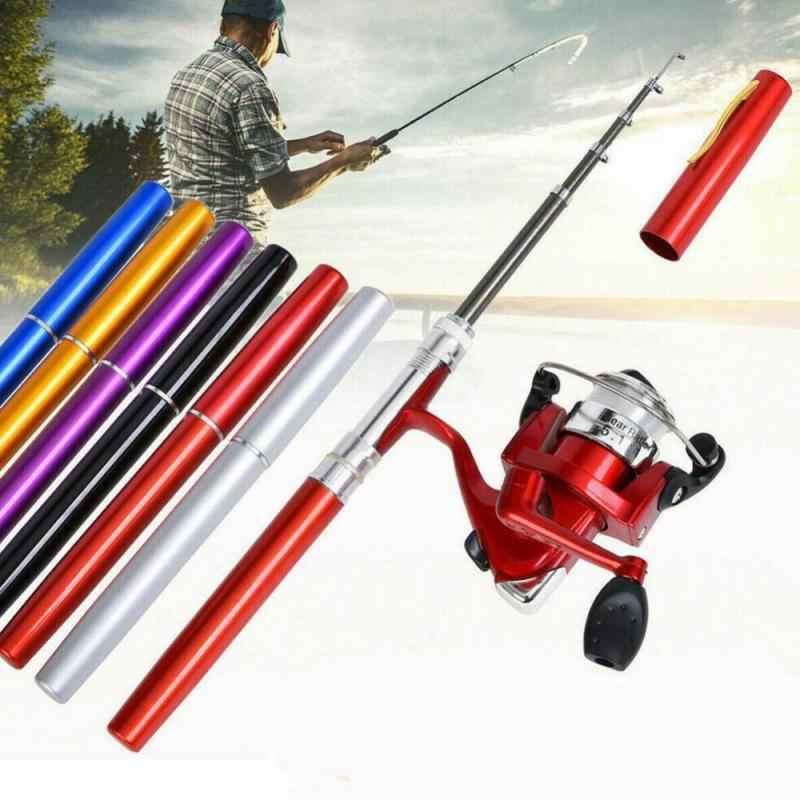 Mini Telescopic Portable Pocket Fish Pen Aluminum Alloy Fishing Rod Pole Reel #