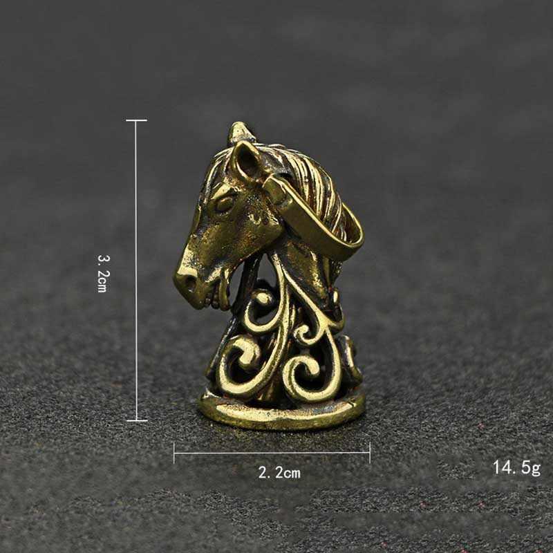 Cabeça de Cavalo de bronze Sino Chaveiros Pingentes Jóias de Cobre Retro Animais Chaveiros Anéis Dos Homens Chave Do Carro Pendurado Encantos Antigo Trinket
