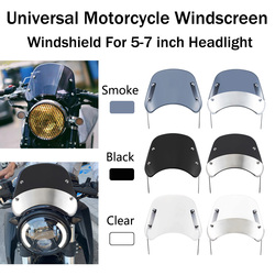 Cafe Racer Windshield Compact Sport Wind Deflector Visor Fits For Harley YAMAHA Suzuki Motorcycle 5-7 inch Headlight Windshield
