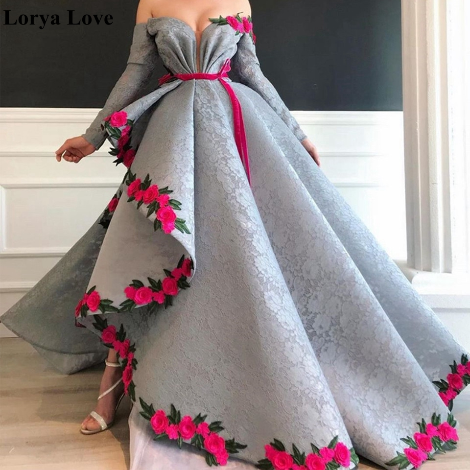 Off Shoulder Maxi Prom Dresses 2020 Women Elegant Asymmetry Party Flowers Appliques Long Vestidos Gala Sexy Robes Evening Dress