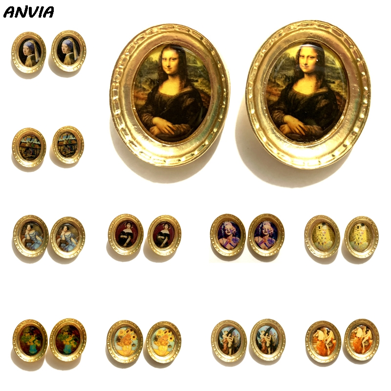 2019 Mona Lisa Vintage Stud Jewelry Oil Painting Gold Metal Big Retro Earrings Oval Lady Portrait Baroque Jewelry For Women New