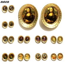 2019 Mona Lisa Vintage Stud Jewelry Oil Painting Gold Metal Big Retro Earrings Oval Lady Portrait Baroque For Women New