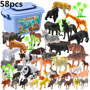 58 pcs Genuine Wild Jungle Zoo Farm Animal Series Jaguar Collectible Model Kids Toy Early Learning Cognitive Toys Gifts-Random(China)