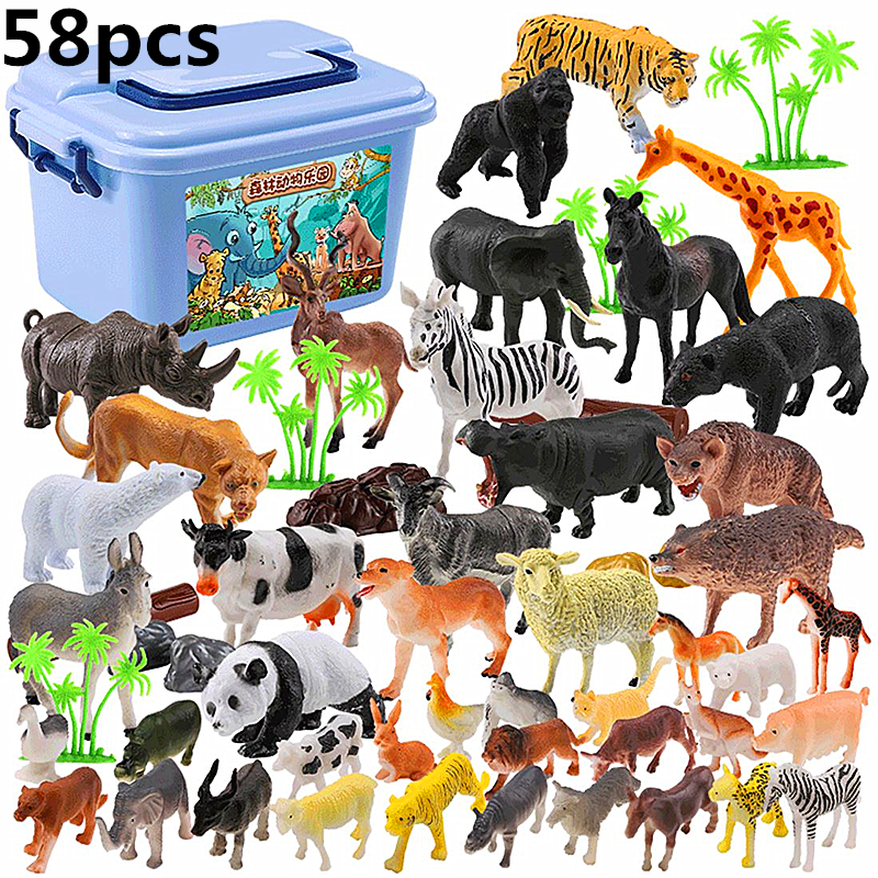 58 pcs Genuine Wild Jungle Zoo Farm Animal Series Jaguar Collectible Model Kids Toy Early Learning Cognitive Toys Gifts-Random image