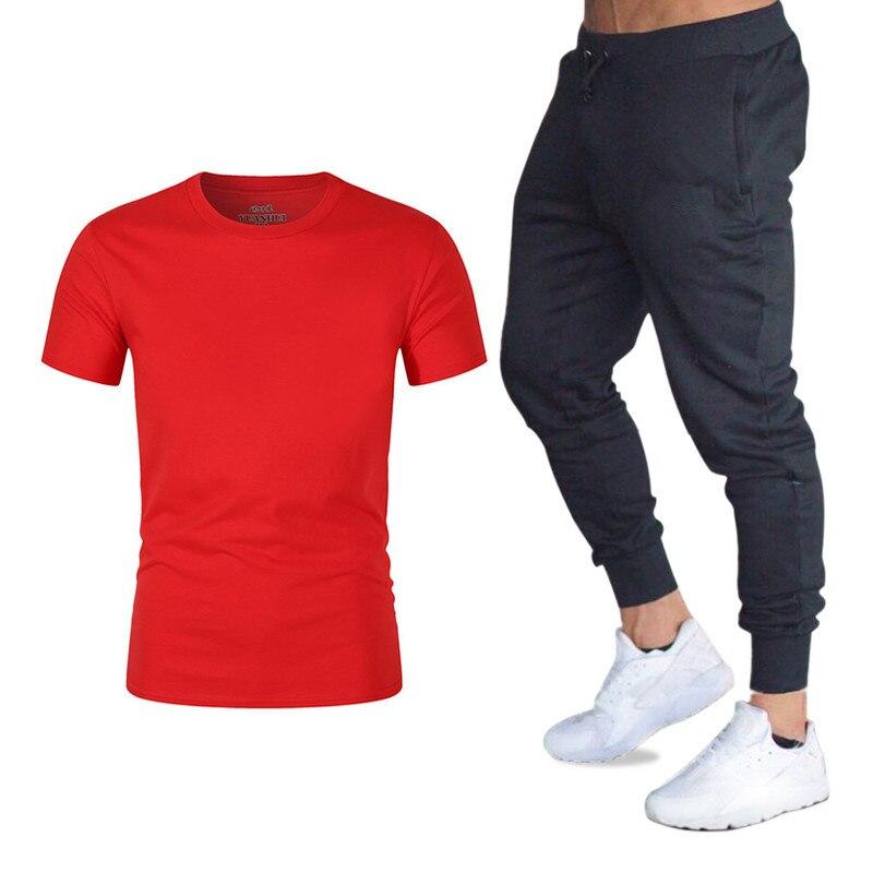 Men's T-shirt + Pants Two-piece Casual Sports Suit Men's 2019 Casual T-shirt Two-piece