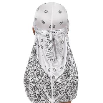 New Men's Durag Hip-Hop Bandanna Cap Rapper Turban Hat Silky Headband Floral Du-rag Headwear Chemotherapy Cap Amoeba Pirate Hat 4