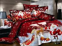 Santa Claus Queen Size Bedding Sets For Adult Bedroom Decor Duvet Cover Full Flat Sheet 4Pcs Home Textile Free Shipping Hot Sale