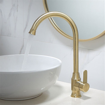 Kitchen Sink Faucet Brushed Gold Solid Brass Sink Mixer Crane Tap Hot and Cold Deck Mounted Single Handle Rotating Free Shipping