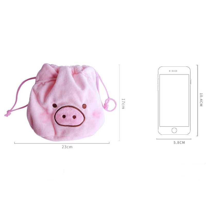 GCreative Cute Fashion Plush Cartoon Pig Shape Storage Cosmetic Makeup Bag Drawstring Pocket Handbag Outdoor Protable Package