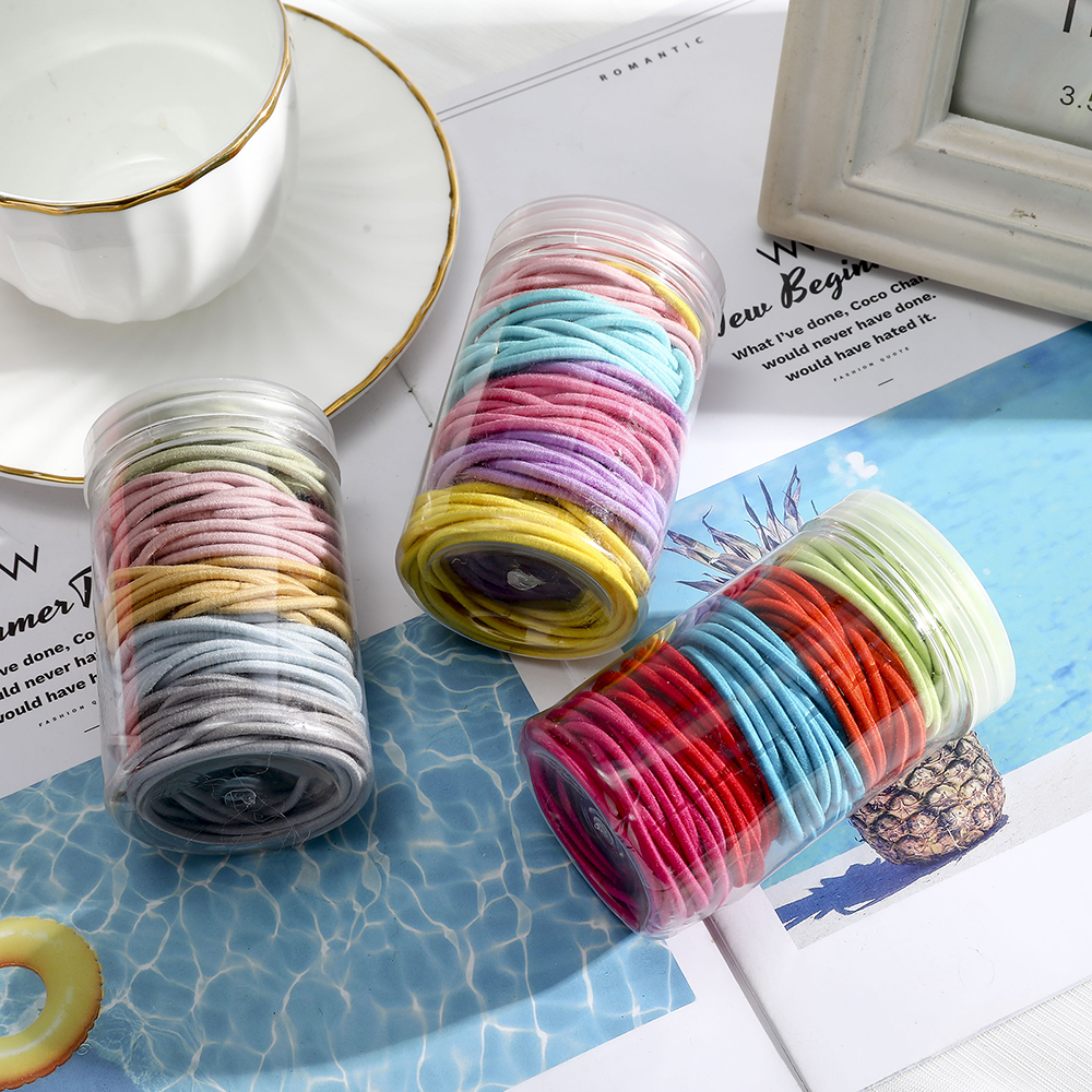 100Pcs 2mm 2.5mm Dia Canned Hair Rope Solid Color High Elastic Rubber Band Ponytail Holder Scrunchies For Women Hair Bands