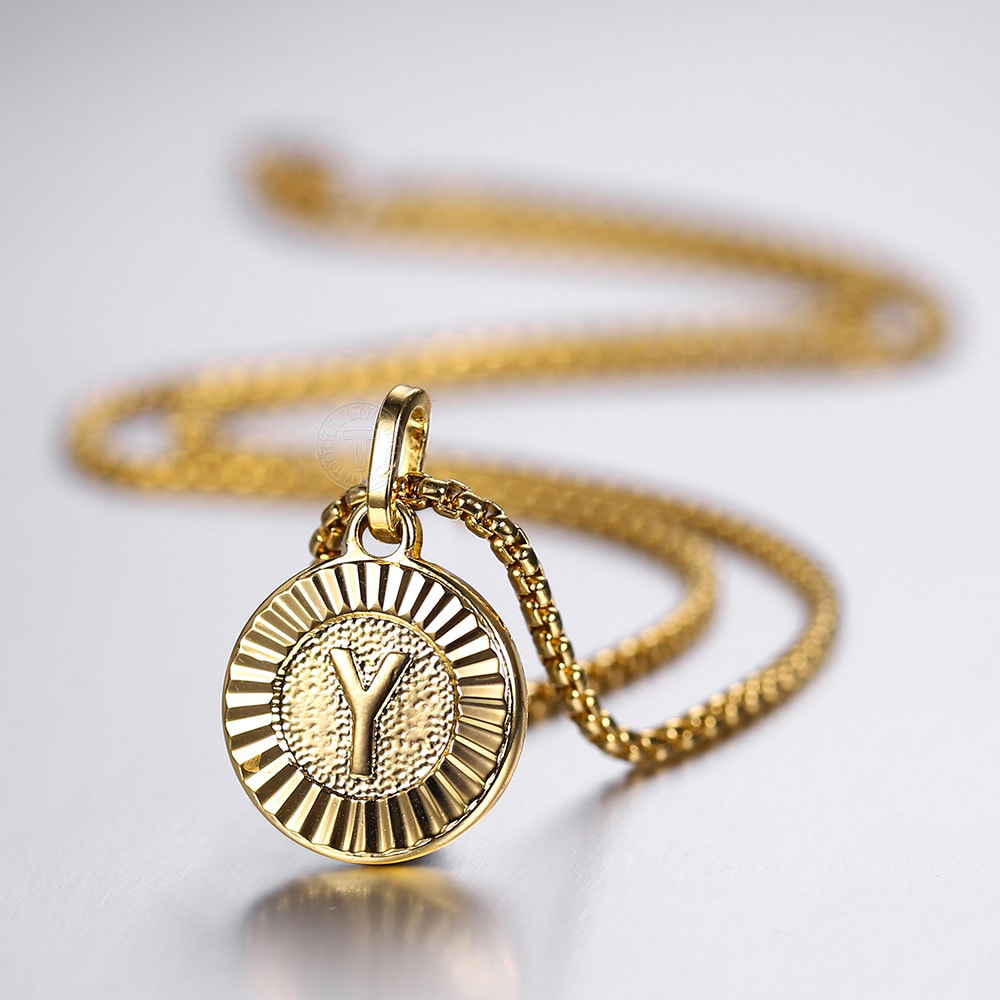 Initial Letter Pendant Necklaces Gold Round Charm Stainless Steel Box Link Chain For Women Men Jewelry