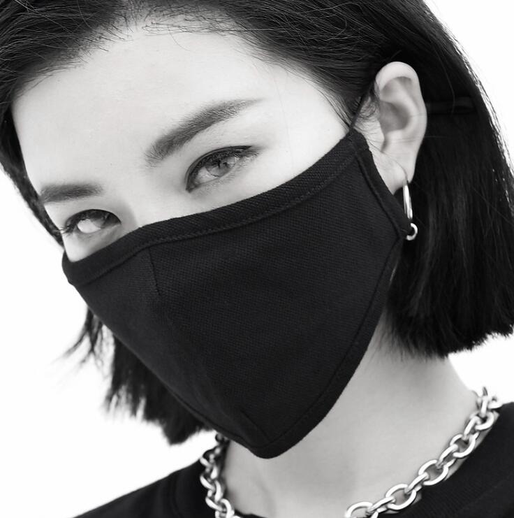Men Women's Windproof Thicken 100% Cotton Mask Lady's PM 2.5 Breathable Black Punk Cotton Mouth-muffle R2715