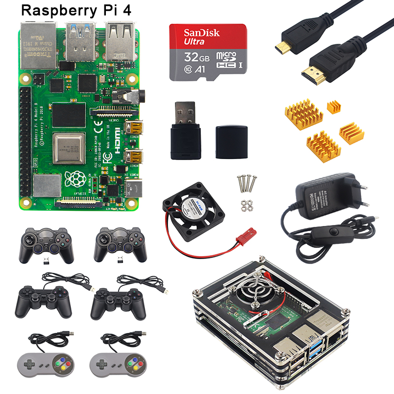 Raspberry Pi 4 Model B 2GB/4GB RAM Game Kit + Acrylic Case + Gamepads + Power Supply + Micro HDMI Cable For Raspberry Pi 4 B
