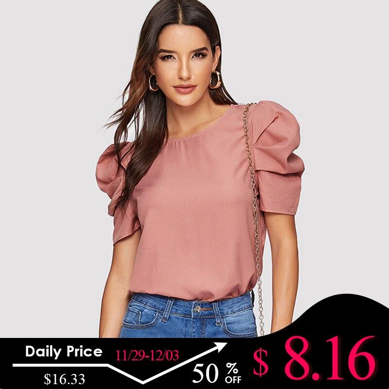 Sheinside Elegant Keyhole Back Puff Sleeve Blouse Solid Top Summer Blouses For Women 2019 Short Sleeve Female Tops