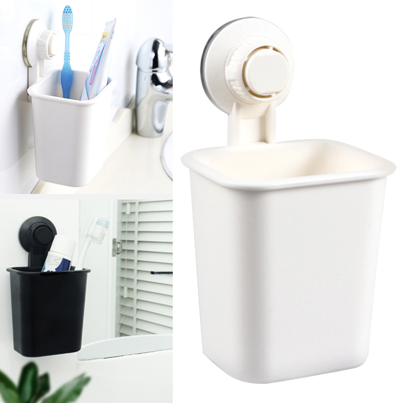 Multifunction Strong Suction Wall Shaped Toothbrush Rack Toothpaste Holder Suction Cup Wall-mounted Durable for Bathroom H99F image