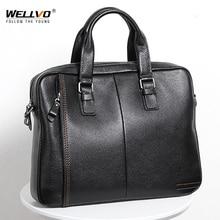 Briefcase Men Bag Handbag Tote Laptop-Shoulder-Bags Business Male 100%Genuine-Leather