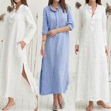 Mujer Casual túnica suelta blanco azul vestido Vintage manga larga-Cuello Vestido camisero con botones bajo Split Maxi vestido Vestidos