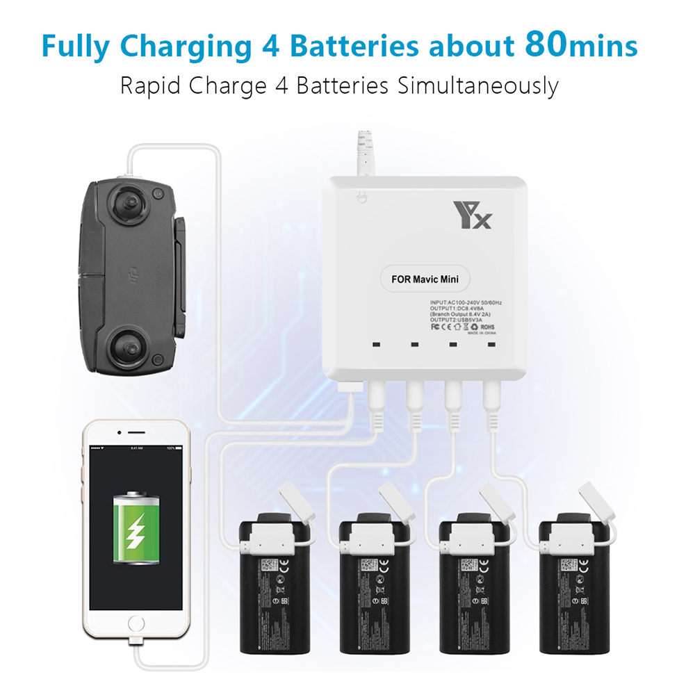 6In1 Intelligent For DJI Mavic Mini Drone Battery Remote Control Charger Smart Fast Power Charging Same Time Hub Parts USB Port