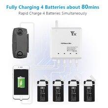 6in1 inteligente para dji mavic mini zangão bateria carregador de controle remoto inteligente carregamento de energia rápida mesmo tempo hub peças porta usb