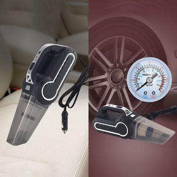 4-in-1 Car Handheld Vacuum Cleaner With Pointer Display Tire Inflator Pump Pressure Gauge Led Light Vacuum Cleaner car cleaners