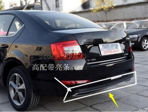 Высокое качество Черный PP задний бампер диффузор, авто задний бампер с хромовой линией для skoda Octavia 4dr или 5dr 2014 2015 2016 2017