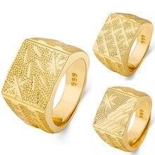 цена Fashion Rings Square Big Width Signet Exquisite Ring Simple Gold Band Finger Rings Steampunk Men Resizeable Ring Jewelry онлайн в 2017 году