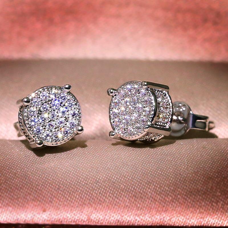 Luxury Full Crystal Round Earrings White Gold Yellow Gold Color White Zircon Stone Wedding Stud Earrings For Women Men Jewelry