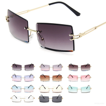Fashion Popular Rimless Rectangle Sunglasses Women Men Shade