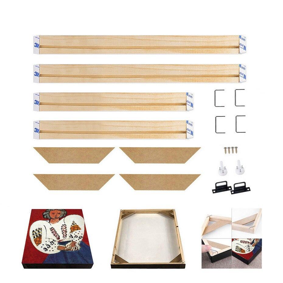גדול DIY בד ציורי מסגרת טבעי עץ תמונה מסגרת יהלומי מסגרת ציור קיר אמנות פוסטרים גדולים קולב מסגרת בית תפאורה