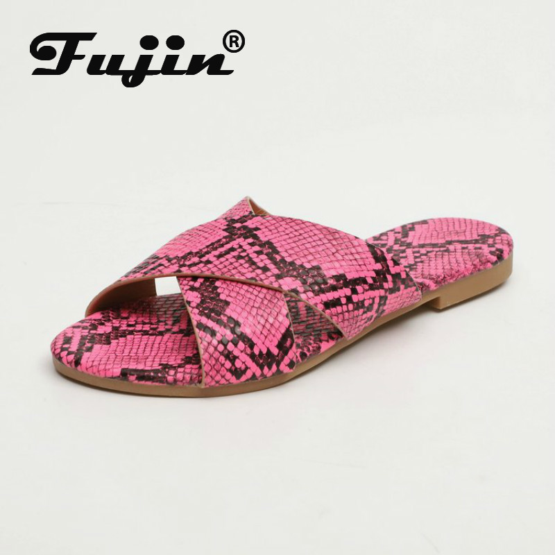 Fujin 2020 Women Slippers Cross Snakeskin Flat Bottom Wear Slipper Women Summer Travel Fashion Anti Slip Beach Flat Heel Slipper