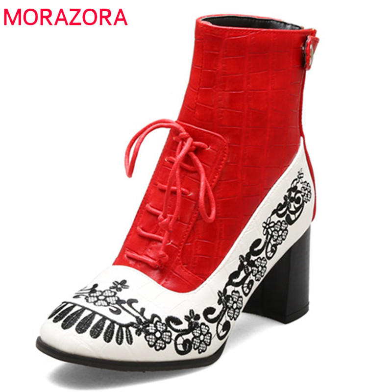 MORAZORA 2020 hot sale ankle boots for women mixed colors embroider autumn winter boots lace up zip high heels shoes ladies