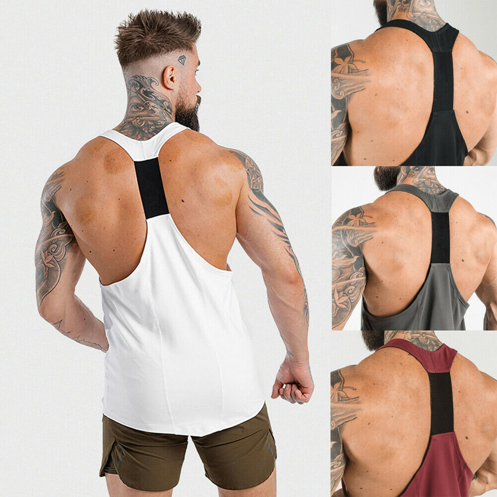 New Casual Men's Fitness Sleeveless Tank Tops Gym Sports Running Vest Slim Muscle Bodybuilding Male Exercise Tee Tank Tops
