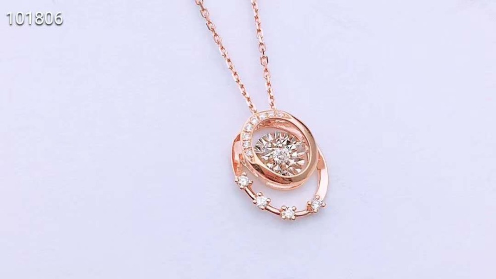 18K Rose Gold Real Diamond Women Pendant Necklaces Round Star Wedding Party Engagement Anniversary Necklaces Birthday Gift