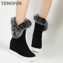 Winter Laarzen Vrouwen Warm Platform Toename Laarzen Winter Schoenen Vrouwen Dames Casual Snowboots Plus Size 43 Bottes Femme HVT512(China)