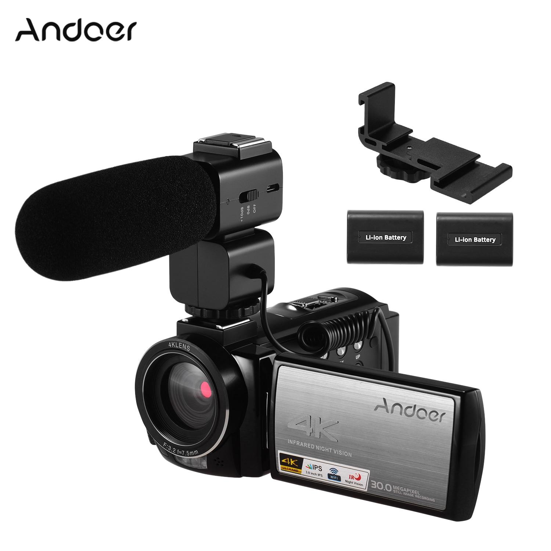 Andoser HDV-AE8 4K WiFi caméra vidéo numérique enregistreur DV 30MP 16X Zoom numérique IR Vision nocturne caméras à écran tactile