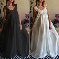 Женское кружевное платье-макси без рукавов ZANZEA, сексуальное летнее платье для пляжной вечеринки, модель 2020